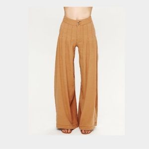 Free People Linen Pleated Wide Leg Pants